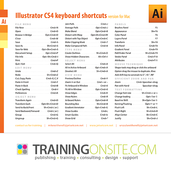 Illustrator CS4 keyboard shortcuts