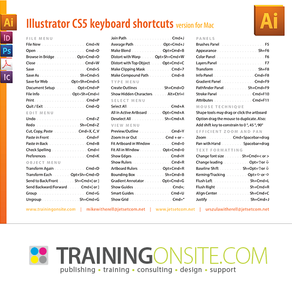Illustrator CS5 common keyboard shortcuts