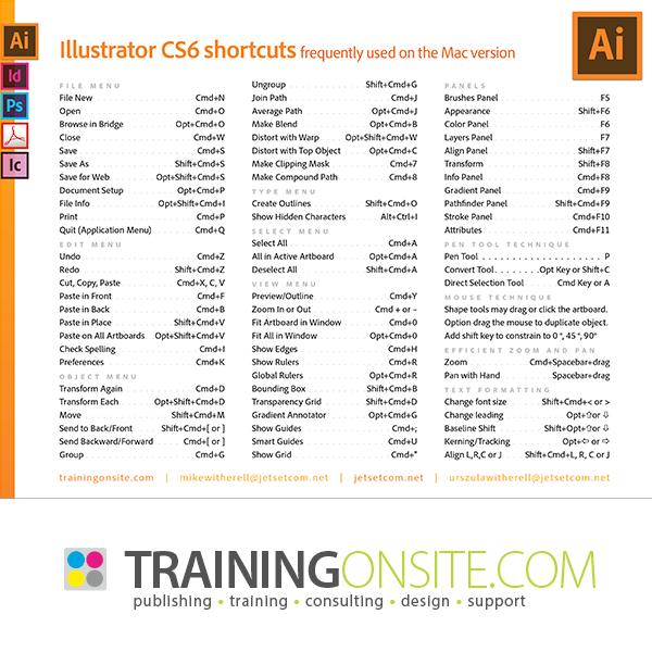 Illustrator CS6 keyboard shortcuts