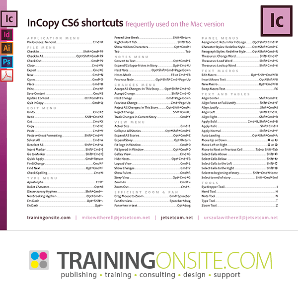 InCopy CS6 frequently-used keyboard shortcuts