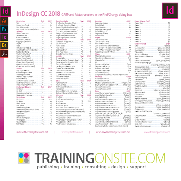 InDesign CC 2018 GREP codes and metacharacters