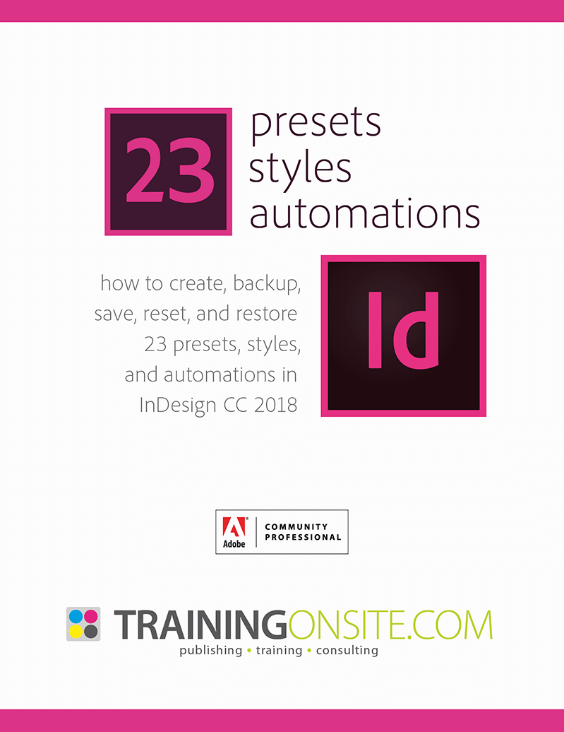 InDesign CC 2018 presets styles automations