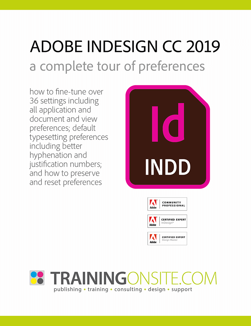 InDesign CC 2019 tour preferences