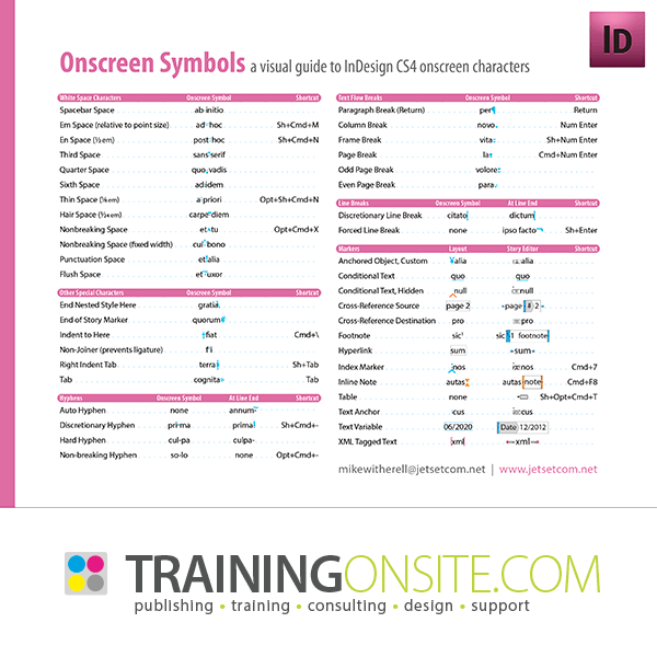 InDesign CS4 special onscreen characters and symbols