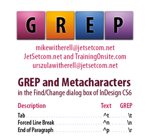 InDesign CS5 GREP and Metacharacters for hand-held mobile devices